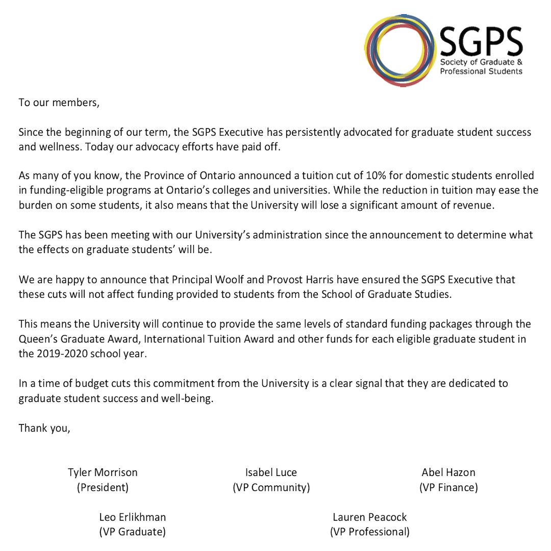 Statement from the SGPS Executive