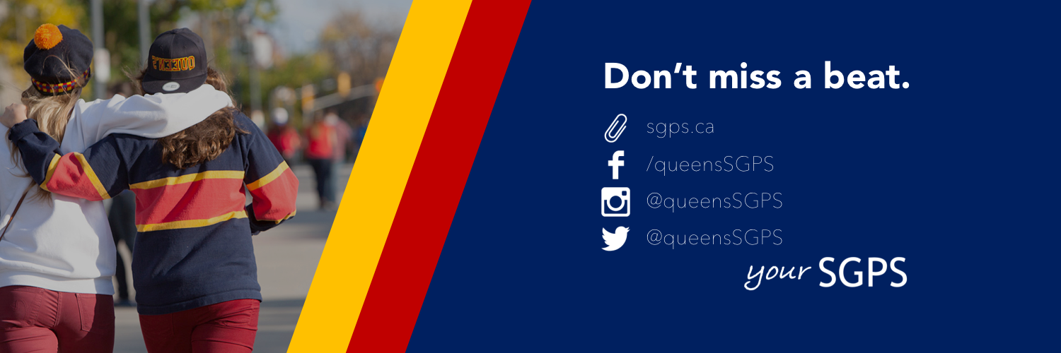 A graphic showing that students can contact us via our website or our social media accounts @queensSGPS