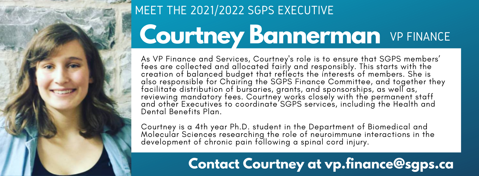 Courtney Bannerman, SGPS Vice President Finance. Contact Courtney vp.finance@sgps.ca